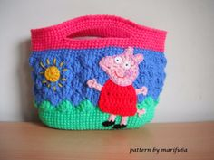 Free crochet patterns and video tutorials: how to crochet peppa pig purse bag free pattern tu...
