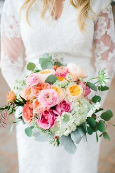 A bouquet of blooming pastel flowers for an informal winter wedding