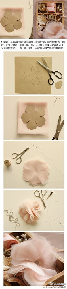 DIY chiffon flowers. potential favor for the pink party!