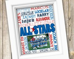 Baseball All Stars Coach Team Gift ~ Personalized Custom Printable Photo Subway Art ~ Digital Image JPEG ~ End of Season Softball Player by SubwayStyle on Etsy