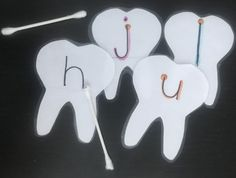 Tot School Theme: Anatomy | Dry Erase Tooth Cards | Preschool Letters | DIY MommaAMommaB Tracing Letters, Preschool Letters, Diy Letters, Apple Life Cycle, Lesson Plans For Toddlers, Teeth Shape, Unit Plan, Community Helpers, School Themes