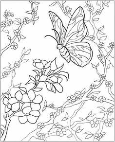 Dover Coloring Pages to Print | ... met bloemen en vlinders | Coloring Page Butterflies and flowers