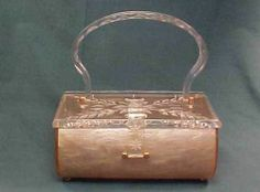 Vintage Charles S Kahn Lucite Purse Floral Engraved Design and Pearl Like Case