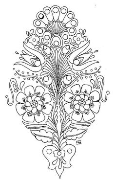 Pattern to stitch Hungarian Embroidery, Embroidery Applique, Cross Stitch Embroidery, Machine Embroidery, Embroidery Designs, Flower Embroidery, Colouring Pages, Adult Coloring Pages, Coloring Books