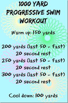 1000 Yard Progressive Swim Workout