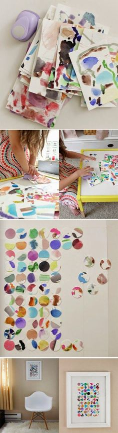 Cute idea for wall art - kids paint, use a circle cutter to punch circles, then glue them down, and frame.