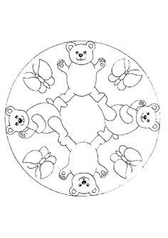 A colorier, une mandala avec des papillons et des oursons