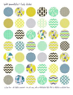 1 inch circles and squares, geometric patterns collage sheet, bottlecap images, triangles for personal use and small commercial - 602. $3.50, via Etsy.