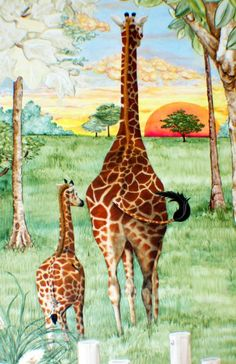 Mom and Baby Giraffe Child's Art by paulastonebuckner on Etsy, $25.00