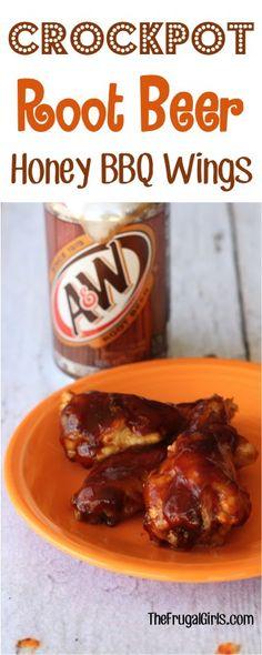 Crockpot Root Beer Honey BBQ Wings Recipe from TheFrugalGirls.com