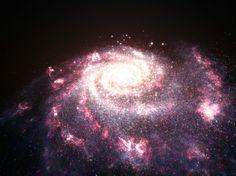 Este wallpaper do espaço é uma ilustração que mostra uma confusa e caótica galáxia a passar por explosões de formação estelar.