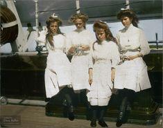 Romanov sisters, Grand Duchesses Maria, Olga, Anastasia, and Tatiana, 1910 (colorized by Dana Keller)