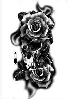 skull roses smoke tattoo design forearm tattoos  digital scarry creepy skulls  black and grey
