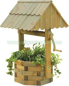 wishing well made from landscape timbers Outdoor Projects, Garden Projects, Wood Projects, Wishing Well Plans, Wishing Well Garden, Landscape Timbers, Wooden Planters, Woodworking Projects Plans, Yard Art