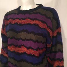 Vintage 80s Graphic Wave Knit Men's Sweater Medium M Purple Rust Blue Sage Green Black Bahama Bay Pullover Crewneck by CarolinaThriftChick on Etsy