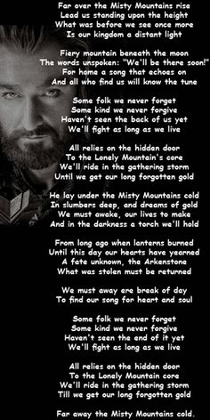 The Hobbit Misty Mountains Song - sounded absolutely wonderful in the movie!