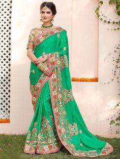 Зелёное свадебное индийское сари из атласа, украшенное вышивкой скрученной шёлковой нитью
