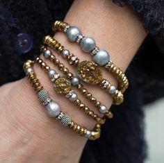 Stack Bracelets, Stretch Bracelets, Set of Five, Pearl Bracelets, Beaded Bracelets, Boho Stack Bracelets, Hematite Bracelets, Stretchy by AlisonStorryJewelry on Etsy