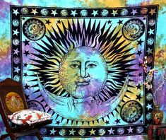 Psychedelic Celestial Indian Sun Hippie Hippy Tapestry Wall Hanging Throw Tie Dye Hippie Hippy Boho Bohemian Tye Die Hand-loomed Window Doorway Door Curtain, Size: X Inches - House of Junque Colorful Tapestry, Bohemian Tapestry, Indian Tapestry, Mandala Tapestry, Hippie Tapestries, Psychedelic Tapestry, Bohemian Bedspread, Cheap Tapestries, Trippy Tapestry