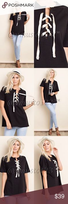 BLACK LACE UP TIE FRONT TOP MADE IN USA - AMAZING QUALITY ❤️ COMES TRUE TO SIZE WOMENS - S(2-4) M(6-8) L(10-12) - recommended care instructions are dry clean only or cold water hand wash lay flat to dry. 92% Cotton 8% Spandex. Limited quantities. THE PRICE IS FIRM. PLEASE DO NOT ASK WHAT MY LOWEST IS. I PRICE FAIRLY AND THESE WERW VERY EXPENSIVE FOR ME TO PURCHASE. THESE ARE BOUTIQUE  QUALITY. ValMarie Boutique Tops