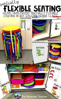 How to implement partially flexible seating in an elementary classroom. Flexible seating tips, tricks and How to implement partially flexible seating in an elementary classroom. Flexible seating tips, tricks and survival guide for your classroom. 3rd Grade Classroom, New Classroom, Classroom Setup, Classroom Design, Preschool Classroom, Classroom Organization, Classroom Management, Class Management, Year 1 Classroom Layout