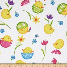 Just Hatched Chicks & Flowers White from @fabricdotcom Designed by Jane Jones for Timeless Treasures, this cotton print fabric is perfect for quilting, apparel and home decor accents. Colors include yellow, green, blue, hot pink and purple on a white background.: