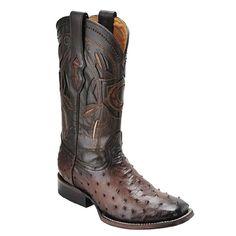 Cuadra Men's Ostrich Wide Square Toe Western Boot Flame Cafe - VaqueroBoots.com
