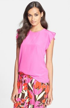 Such a fun hue for Summer, right?! Kate Spade Silk Frill Shell via @Nordstrom