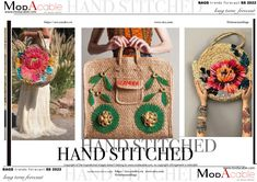 SS 22 Hand stitched bag - ModaCable 2020 Fashion Trends, Denim Trends, Peach Colors, Jewelry Trends, Color Trends, Hand Stitching, Lotus, Summer Bags, Spring Summer