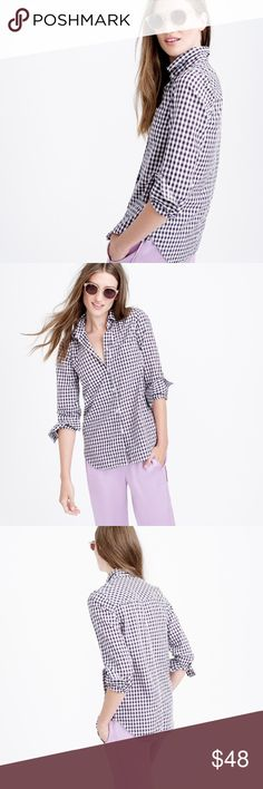 J. Crew mini Gingham Shirt Like New Condition J. Crew Tops Button Down Shirts