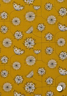 Dandelion Mobile Sunflower Yellow with White Fabric via House Beautiful British Edition April 2013 Graphic Patterns, Textile Patterns, Fabric Wallpaper, Pattern Wallpaper, Textile Texture, Yellow Fabric, Motif Floral, Flyer, Pretty Patterns
