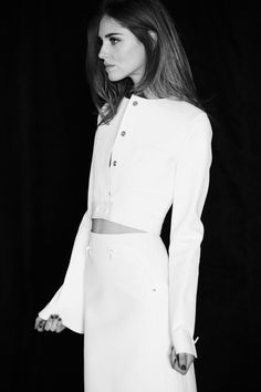 White hot. Chiara Ferragni wears a top + skirt from the Resort 2015 Calvin Klein Collection.