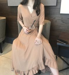 South Korea chic wind feminine strap V-collar waist chiffon dress temperament fairy short-sleeved dress summer