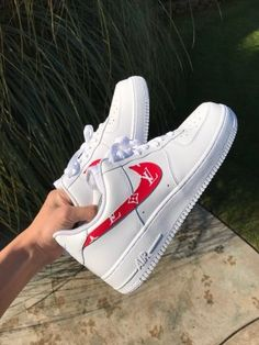 """Image of """"Red LV"""" Airforce 1 lows 🎒 Lv Shoes, Hype Shoes, Me Too Shoes, Shoes Sneakers, Girls Sneakers, Gucci Shoes, Shoes Men, Platform Sneakers, Air Force 1"""