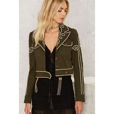 Nasty Gal Got Your Six Soutache Military Jacket ($158) ❤ liked on Polyvore featuring outerwear, jackets, green, military inspired jacket, nasty gal, army jacket, green military jacket and green field jacket
