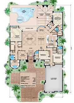Mediterráneo Plan de Estilo Casa - 4 Dormitorios 4.5 Baños 6035 m² / Plan de pies # 27-461 Plan de piso principal - Houseplans.com