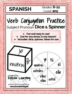 Product Update! - Subject Pronoun Dice & Spinner for Verb Conjugation Practice and Games - Spanish, French & Italian — Esteem Learning LLC