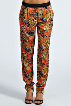 Emilia Paisley Ethnic Print Tapered Leg Trouser at boohoo.com
