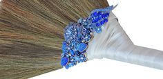 Color Bright Jeweled Wedding Jumping Broom by BroomsBasketsNBrides, $98.00