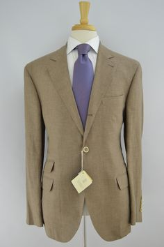 Brunello Cucinelli Linen Wool Silk Sport Coat Tan Houndstooth Check 42R