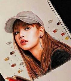 Whatttttt this is a drawing? So pretty Blackpink Lisa, Kpop Drawings, Art Drawings, Horse Drawings, Drawing Art, Manga Drawing, Fanart Kpop, Kreative Portraits, Foto 3d