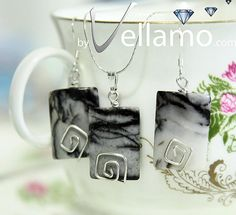 Earrings and pendant with beautiful Picasso jasper by byVellamo, $35.00