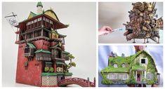 Studson Studio Transforms Trash into Magical Ghibli-Inspired Miniature Models - Spoon & Tamago Editing Skills, Model Maker, Castle In The Sky, Spirited Away, Cardboard Crafts, Hayao Miyazaki, Studio Ghibli, Household Items, Gundam