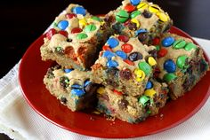 Thick and Chewy M Cookie Bars - these are really good and easy to make. You don't even need a mixer.