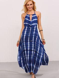 Blue Tie-Die Halter Maxi Dress