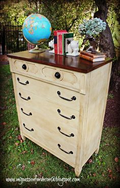 My Passion For Decor 1960's dresser painted with Annie Sloan chalk paint in Cream