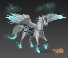 League of Angels - 2014 Most Anticipated Free-to-Play MMORPG Mystical Animals, Mythical Creatures Art, Mythological Creatures, Magical Creatures, Fantasy Beasts, Fantasy Art, Pegasus, Greek Goddess Art, Beast Creature