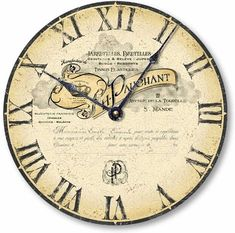 Item C1009 Vintage Style Antique French Letterhead Clock