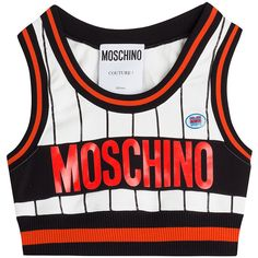 Moschino Cropped Top (£200) ❤ liked on Polyvore featuring tops, shirts, crop tops, crop, multicolor, slim shirt, white crop shirt, white crop top, red and black crop top and shirts & tops
