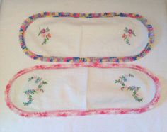 Vintage cotton/linen embroidered and crocheted dresser runners, crocheted linens, vintage linens, nursery dresser runners, floral by LakesideVintageShop on Etsy